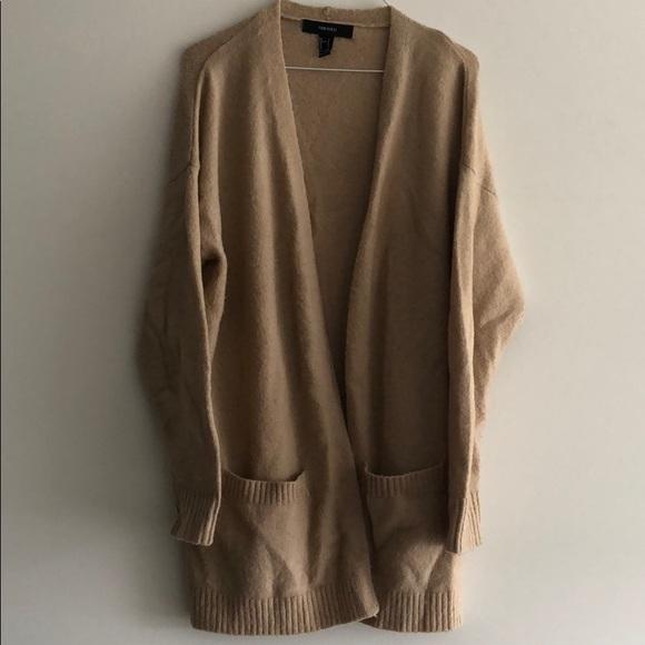 Forever 21 tan open front cardigan
